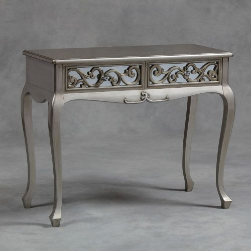 Rococo Mirrored Table or Dresser in Antique Silver
